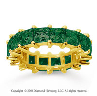 6 1/2 Carat Emerald 14k Yellow Gold Princess Eternity Band