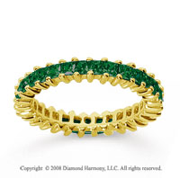 1 1/4 Carat Emerald 18k Yellow Gold Princess Eternity Band