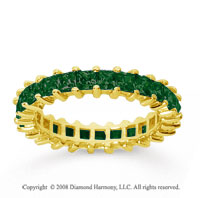 2 1/2 Carat Emerald 18k Yellow Gold Princess Eternity Band