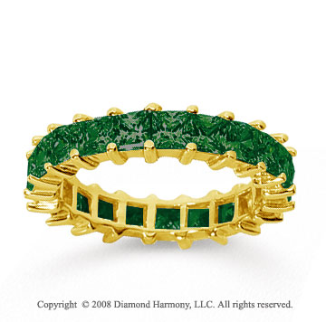 3 1/2 Carat Emerald 18k Yellow Gold Princess Eternity Band