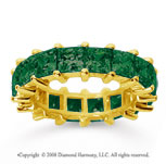 6 1/2 Carat Emerald 18k Yellow Gold Princess Eternity Band
