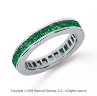 3/4 Carat Emerald Platinum Princess Channel Eternity Band