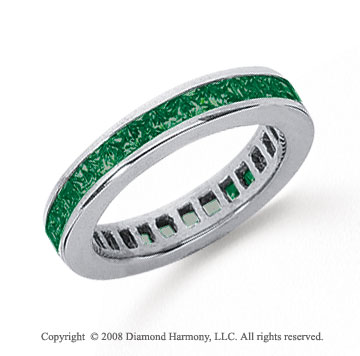 1 Carat Emerald Platinum Princess Channel Eternity Band