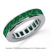 2 Carat Emerald Platinum Princess Channel Eternity Band