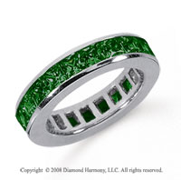 3 1/2 Carat Emerald Platinum Princess Channel Eternity Band