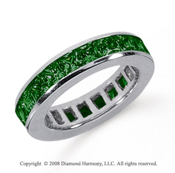 4 Carat Emerald Platinum Princess Channel Eternity Band