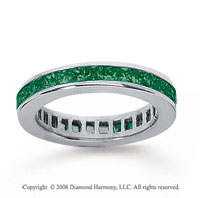 1 Carat Emerald 14k White Gold Princess Channel Eternity Band