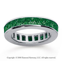 2 Carat Emerald 14k White Gold Princess Channel Eternity Band