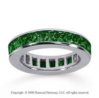 3 1/2 Carat Emerald 14k White Gold Princess Channel Eternity Band