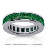 4 3/4 Carat Emerald 14k White Gold Princess Channel Eternity Band