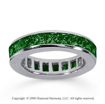 4 Carat Emerald 18k White Gold Princess Channel Eternity Band