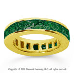 4 3/4 Carat Emerald 14k Yellow Gold Princess Channel Eternity Band