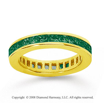 1 Carat Emerald 18k Yellow Gold Princess Channel Eternity Band