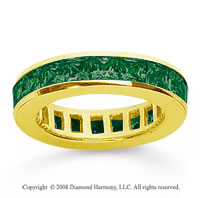 2 Carat Emerald 18k Yellow Gold Princess Channel Eternity Band