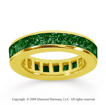 4 Carat Emerald 18k Yellow Gold Princess Channel Eternity Band