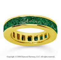 4 3/4 Carat Emerald 18k Yellow Gold Princess Channel Eternity Band
