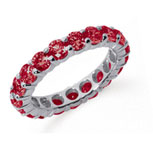 3 Carat Ruby Platinum Round Eternity Band
