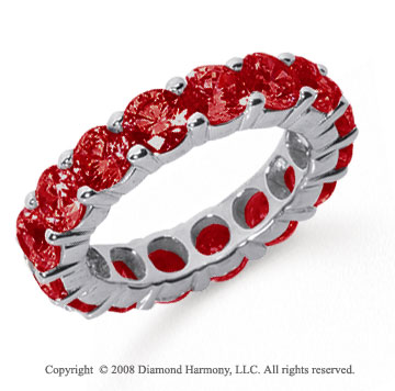 5 Carat Ruby Platinum Round Eternity Band