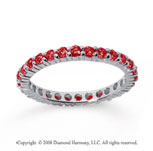 3/4 Carat Ruby 14k White Gold Round Eternity Band