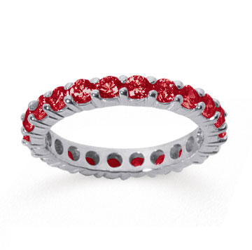 2 Carat Ruby 14k White Gold Round Eternity Band