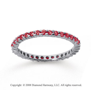 1/2 Carat Ruby 18k White Gold Round Eternity Band