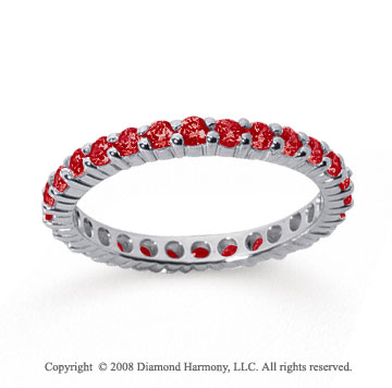 1 Carat Ruby 18k White Gold Round Eternity Band