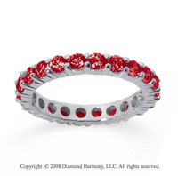 1 1/2 Carat Ruby 18k White Gold Round Eternity Band