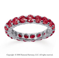 3 Carat Ruby 18k White Gold Round Eternity Band