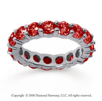 3 1/2 Carat Ruby 18k White Gold Round Eternity Band