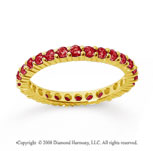 1 Carat Ruby 14k Yellow Gold Round Eternity Band