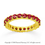 1 1/2 Carat Ruby 14k Yellow Gold Round Eternity Band