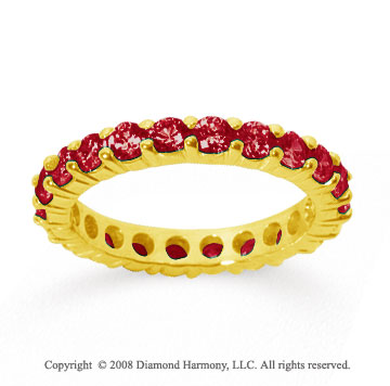 2 Carat Ruby 14k Yellow Gold Round Eternity Band