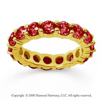 3 1/2 Carat Ruby 14k Yellow Gold Round Eternity Band