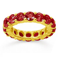 5 Carat Ruby 14k Yellow Gold Round Eternity Band
