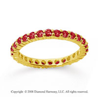 1 Carat Ruby 18k Yellow Gold Round Eternity Band