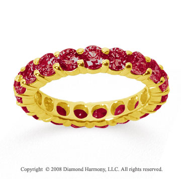 3 Carat Ruby 18k Yellow Gold Round Eternity Band