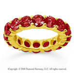 5 Carat Ruby 18k Yellow Gold Round Eternity Band