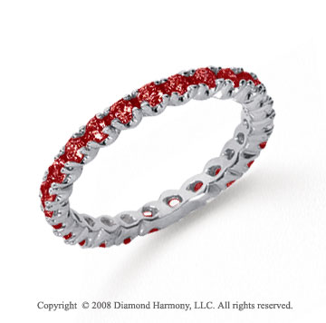 3/4 Carat Ruby Platinum Round Four Prong Eternity Band