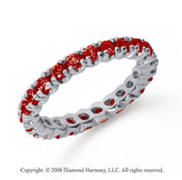 1 Carat Ruby Platinum Round Four Prong Eternity Band