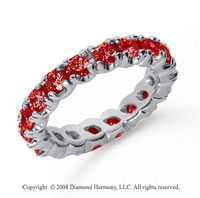 2 Carat Ruby Platinum Round Four Prong Eternity Band