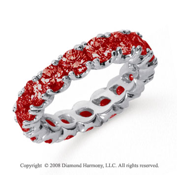 3 Carat Ruby Platinum Round Four Prong Eternity Band