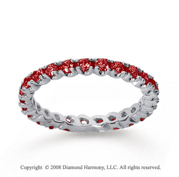 3/4 Carat Ruby 14k White Gold Round Four Prong Eternity Band