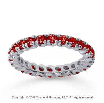 1 Carat Ruby 14k White Gold Round Four Prong Eternity Band