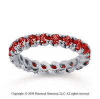 1 1/2 Carat Ruby 14k White Gold Round Four Prong Eternity Band