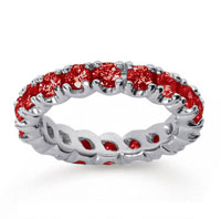 2 Carat Ruby 14k White Gold Round Four Prong Eternity Band