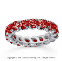 3 1/2 Carat Ruby 14k White Gold Round Four Prong Eternity Band