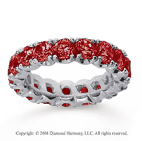 4 1/2 Carat Ruby 14k White Gold Round Four Prong Eternity Band