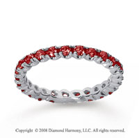 3/4 Carat Ruby 18k White Gold Round Four Prong Eternity Band