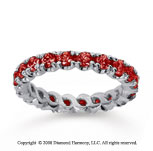 1 1/2 Carat Ruby 18k White Gold Round Four Prong Eternity Band