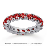 2 1/2 Carat Ruby 18k White Gold Round Four Prong Eternity Band